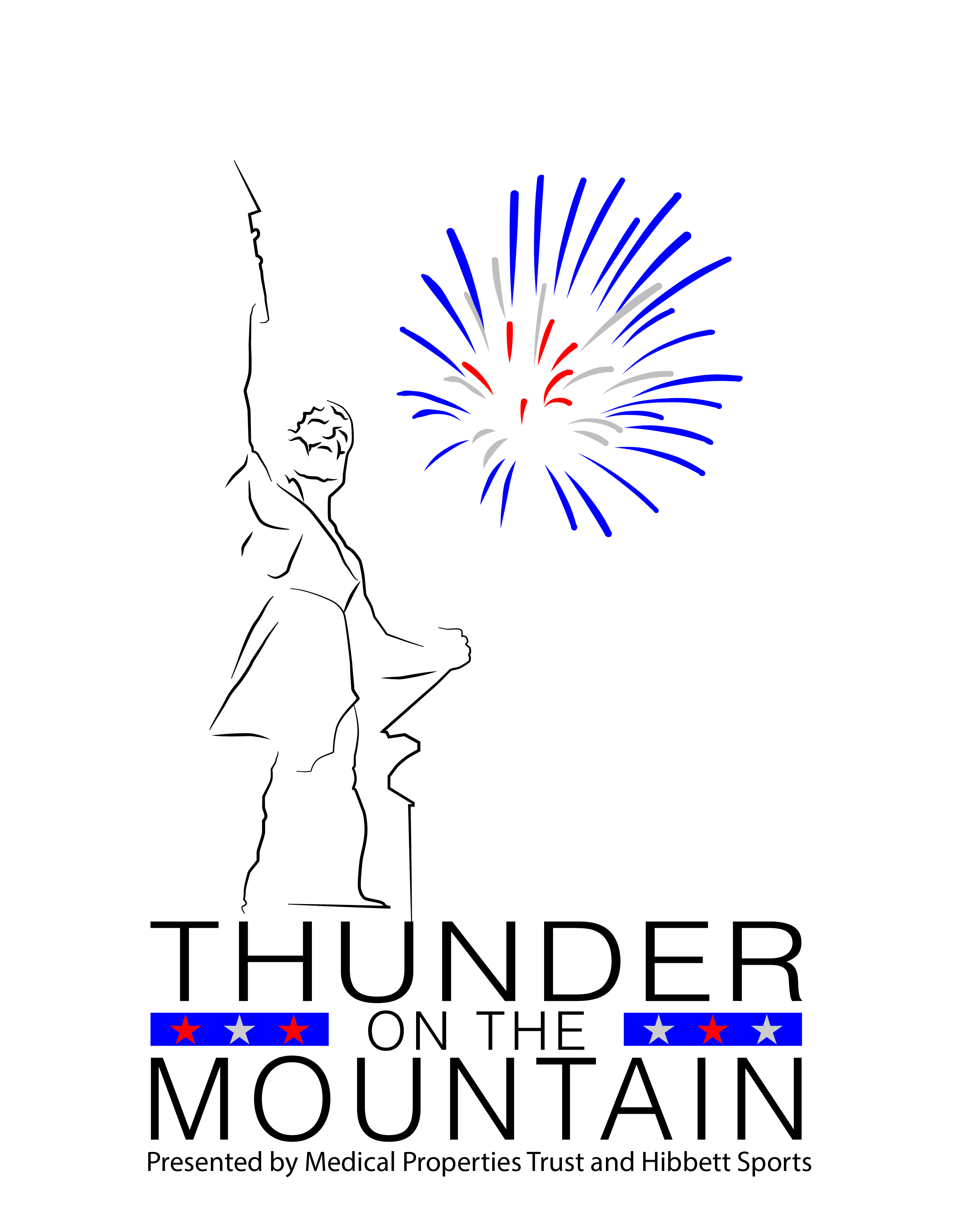 "Outline of Vulcan statue with blue and red illustration of fireworks to the right. Underneath says ""Thunder on the Mountain presented by Medical Properties Trust and Hibbett Sports"""